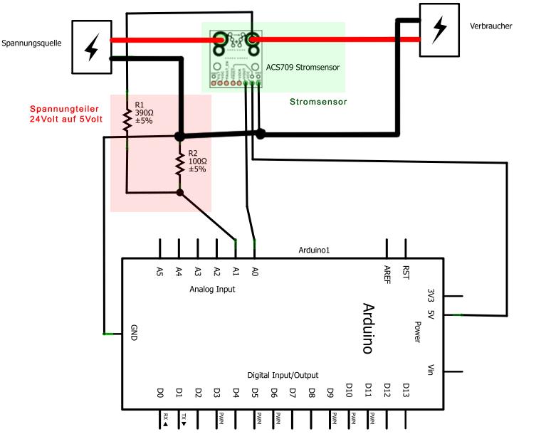 strom und spannung mit arduino uno messen. Black Bedroom Furniture Sets. Home Design Ideas