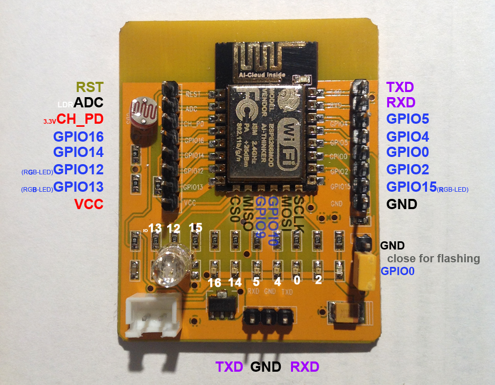 ESP8266-12E mod Development Board und ArduCAM